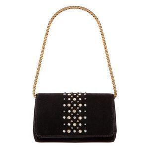 Eric Javits Astra Velvet Crystal Clutch Bag Black